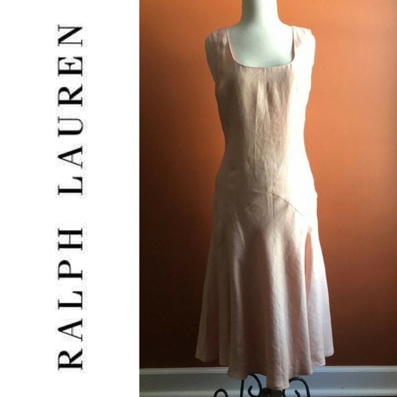LAUREN RALPH LAUREN Light Pink Linen Dress Size 10